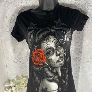 OG Angels Candy Skull Jaded Black V-Neck Shirt